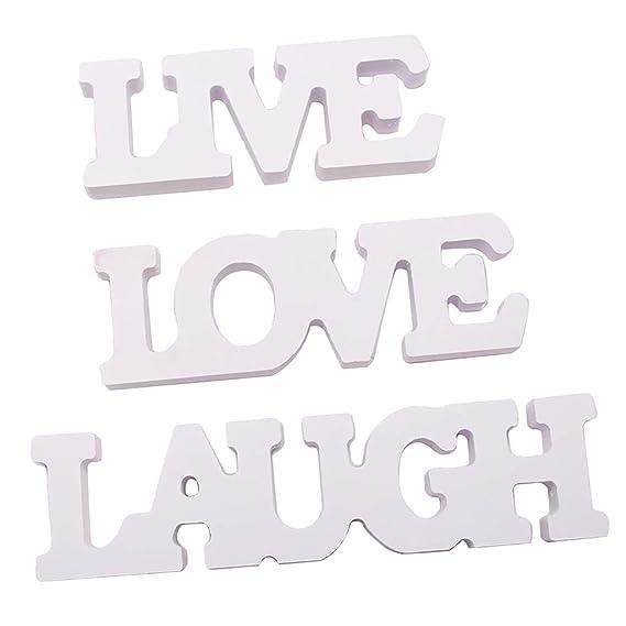 3Pcs Word Art Wood Cutout Wooden Sign LAUGH LIVE LOVE Wall Hanging Sculpture