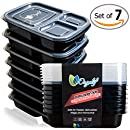Orgalif 3-Compartment Reusable Plastic Bento Lunch Box (Set of 7)