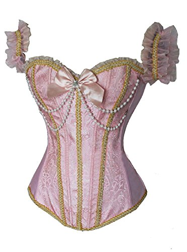 Blidece Women's Sexy Brocade Overbust Lace up Back Corset Bustier Top Pink M