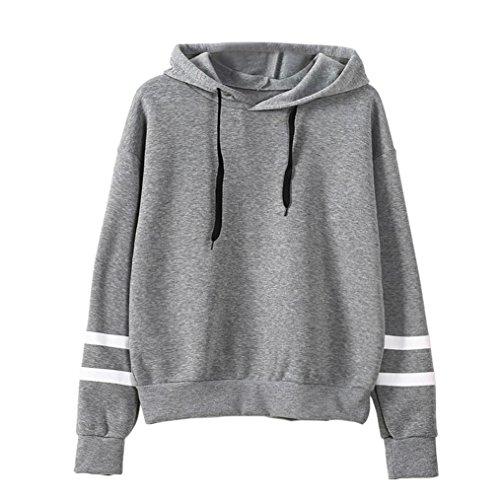 Blackobe Women Pullover Hoodie Striped Long Sleeve Casual Sweatshirt Pullover (L, Gray)