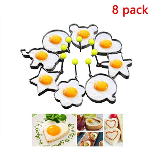 8pcs Set Fried Egg Rings Mold Non Stick for Griddle Pan, Egg Shaper Pancake Maker with Handle, Stainless Steel Egg Form for Frying Cooking