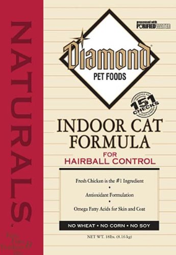 Diamond Naturals Dry Food for Adult Cats, Indoor Hairball Control Chicken Formula, 18 Pound Bag, My Pet Supplies