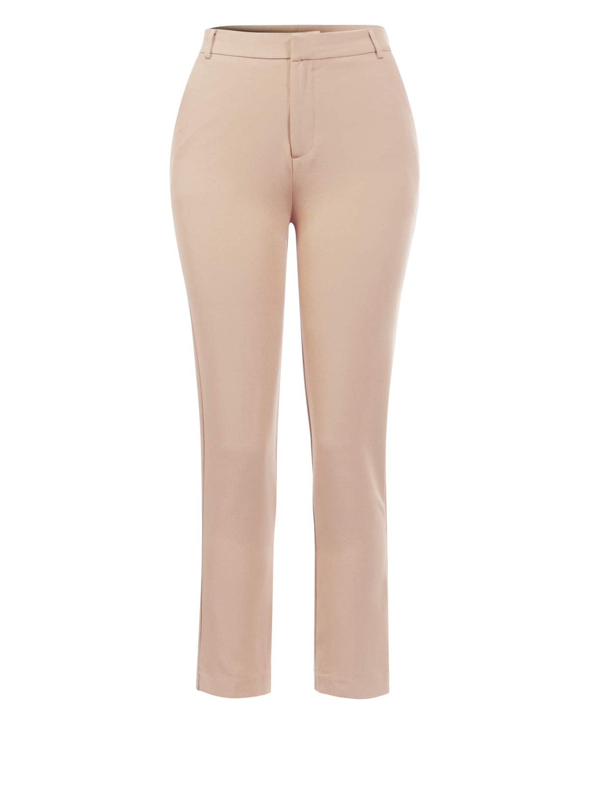 Instarode Women's Classic Straight Slim Solid Trousers Casual Business Office Pants,Ipaw031 Khaki,Small