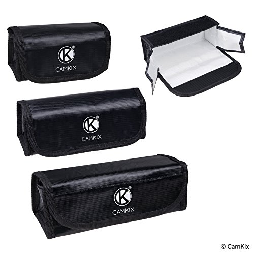 Fire Resistant LiPo Battery Bags - 3 Pack (Large, Medium, Small) - for Safe Charging, Transport and Storage of The LiPo powerbanks or LiPo Batteries of Your RC car, Boat, Drone, Train, Robot, etc.