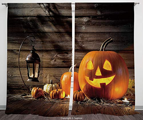 Rod Pocket Curtain Panel Polyester Translucent Curtains for Bedroom Living Room Dorm Kitchen Cafe/2 Curtain Panels/108 x 90 Inch/Halloween,Grinning Expression Pumpkin Country House Squash Bunch on Woo -