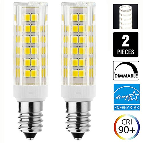 JD E11 120V 6W Dimmable LED Light Bulb 50W 75W Halogen Bulbs Equivalent Mini Candelabra E11 Base T3 T4 LED Bulbs for Ceiling Fan, Indoor Decorative Lighting, Pack of 2 ( Daylight - Candelabra Mini