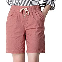 Chartou Women's Modest Loose Elastic-Waisted Bermuda Drawstring Casual Shorts (X-Large, Light Pink)
