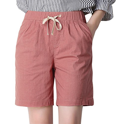 Chartou Women's Modest Loose Elastic-Waisted Bermuda Drawstring Casual Shorts (XX-Large, Light (Womens Cotton Bermuda Shorts)