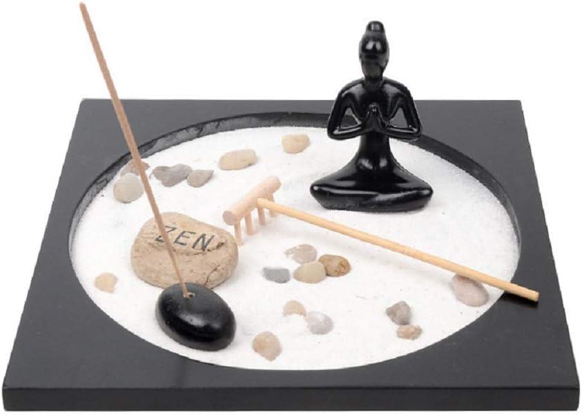 Jolitac Zen - Figura Decorativa de jardín con Buda Sentado, Cobble, Rocks Sand and Rake para Escritorio y decoración del hogar: Amazon.es: Hogar