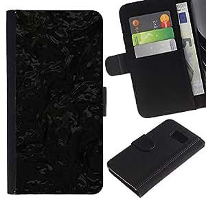 LASTONE PHONE CASE / Lujo Billetera de Cuero Caso del tirón Titular de la tarjeta Flip Carcasa Funda para Samsung Galaxy S6 SM-G920 / Black Texture