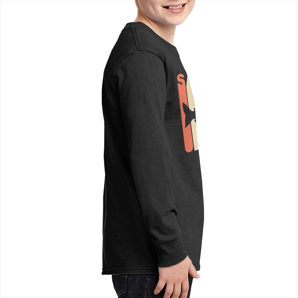 Boys Fit Long Sleeve Crew Neck Cotton Vintage Style Salmon Top for Youth