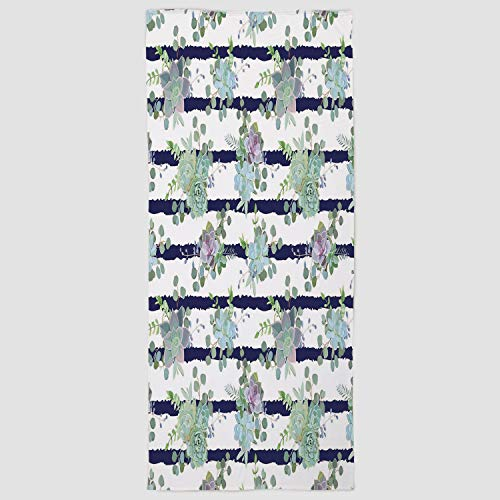 iPrint Cotton Microfiber Hand Towel [ Succulent,Natural Cactus Pattern in Modern Funky Style Striped Backdrop Decorative,White Almond Green Navy Blue ] for Hotel SPA Beach Pool Bath