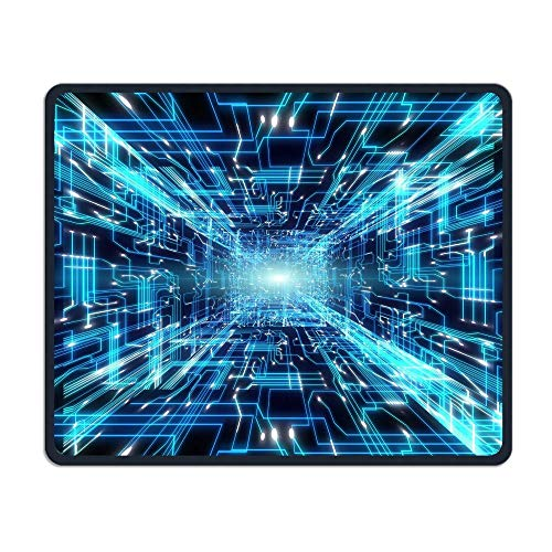 Computer Gaming Mouse Pad Radiation Pattern Laptop Pad Non-Slip Rubber Stitched Edges 11.8 X 9.8 Inch ()