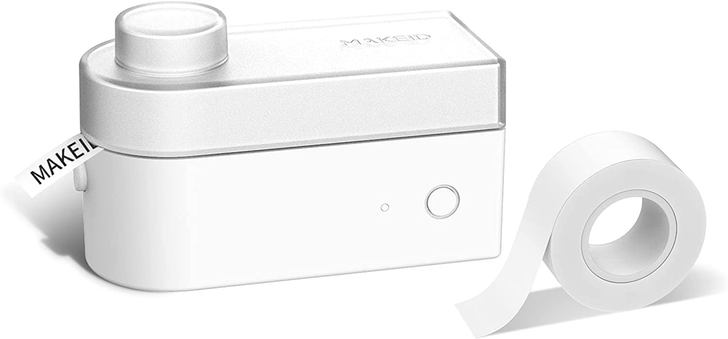 MakeID Label Maker Machine for Storage with 6/10 inch or 16mm Tape Cute Fonts Emoji Different Calligraphy Customizable Stickers Bluetooth USB Rechargeable for Android iPhone Fast and Easy