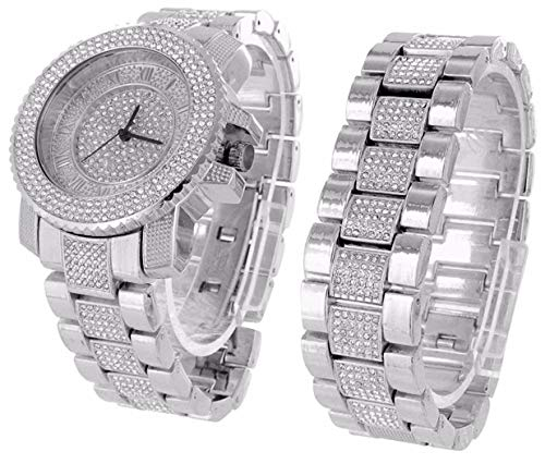 - Mens 45mm Rhodium Plated Dress Watch & Bracelet Set Fully Iced Out Cubic Zirconia + Polishing Cloth