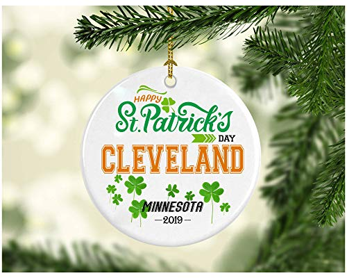 St Patricks Day Ornaments Decorations - Personalized Hometown State - St Patricks Day Gifts Cleveland Minnesota - Ceramic 3 -