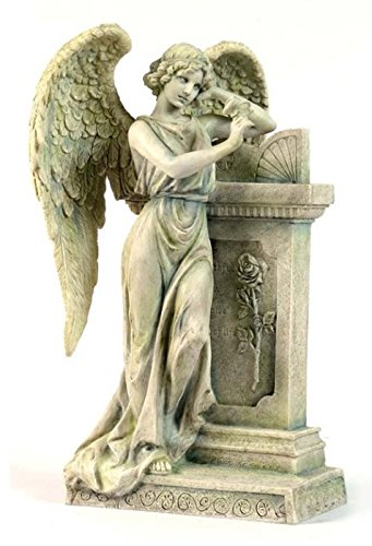 10.63 Inch Angel Leaning on Tombstone Statue Figurine, Faux Marble (Angel Tombstone)