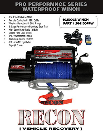 10,500LB, 12VDC 6.5HP MOTOR, 3-Stage Planetary Gear PRO PERFORMANCE SERIES WINCH in Black