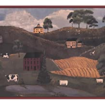 Village Rolling Hills Cow Horse Retro Wallpaper Border Paint by Design, Roll 15' x 10.5""