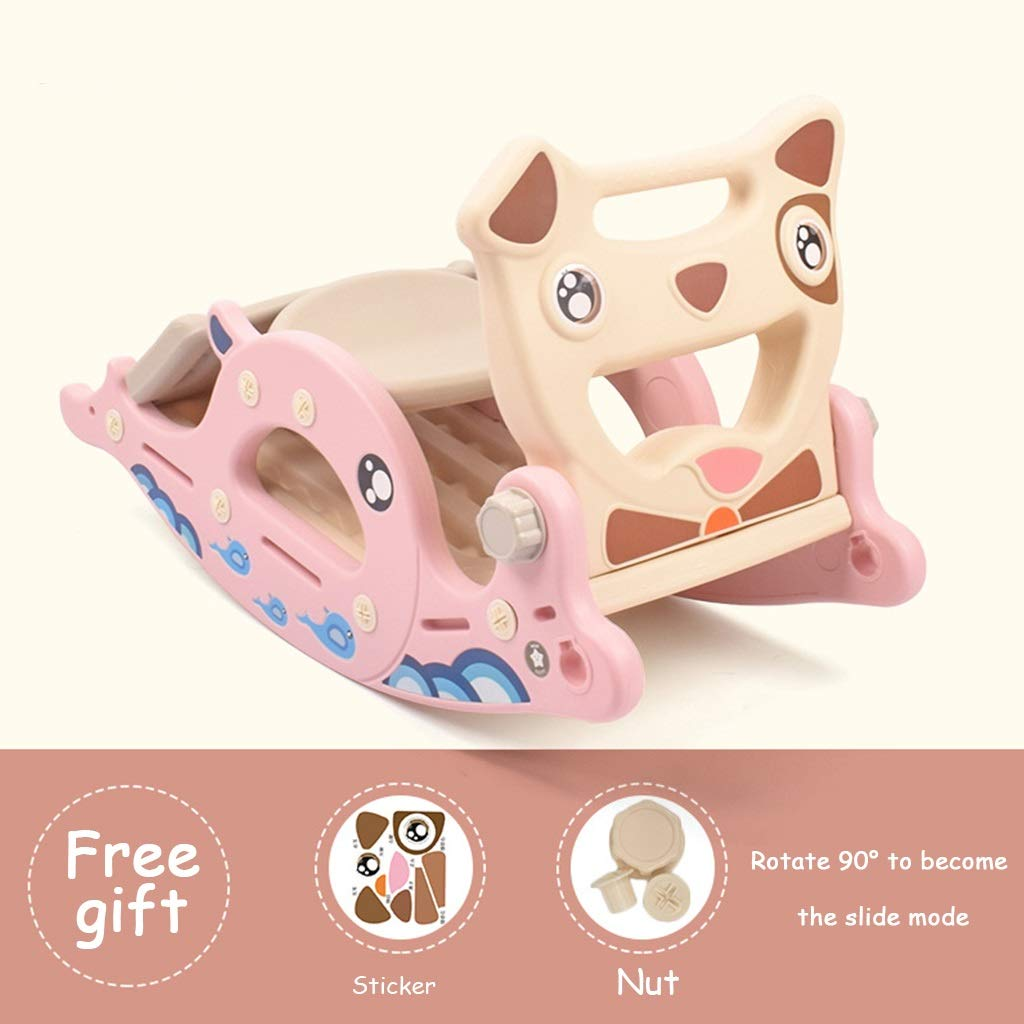 PINK 7 Friendship Shop- Kid Multi-Function Rocking Horse, Music Slide Toy Wooden Horse Rocking Chair (color   bluee, Size   8)