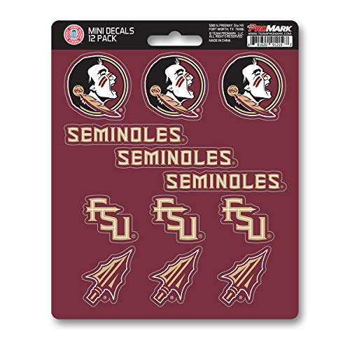 ProMark NCAA Florida State Seminoles Decal Set Mini (12 Pack), Team Color, One Size
