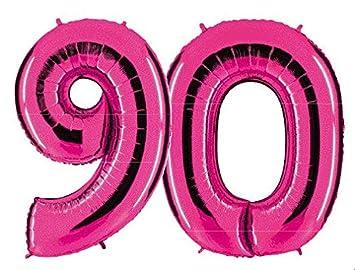 PartyMarty Globo Número 90 en Rosa - XXL Gigante Número 100 ...