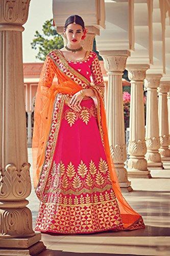 Da Facioun Womens Pink Color Striking Lehenga Choli With Beads Work 79635