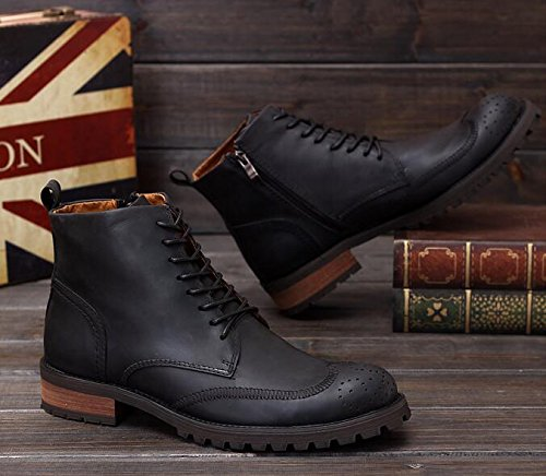 Happyshop(TM) Genuine Leather Lace up Wingtip Ankle Boots Casual Shoes Men Brogue Shoes Martin Boots Black MzxFykZ