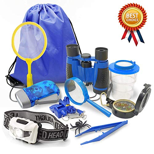 Outdoor Adventure Kit for Kids, 10Pcs Explorer Kit Set for Camping Hiking Backyard - Binoculars, Headlamp, Bug Container, Magnifying Glass, Butterfly Net, Flashlight, Whistle, Compass (Blue)