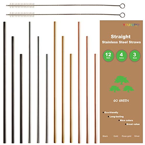 12+2 Pcs Reusable Stainless Steel Straws, Metal Straws, 4 Colors Gold, Silver, Rose Gold & Black - 20 oz & 30 oz Tumblers Straws (Straight) by Youngever