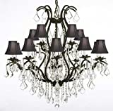 Wrought Iron Chandelier Crystal Chandeliers Lighting H36″ X W36″ With Shades! For Sale
