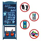LED Message Writing Board, 22'' x 15 '' Wood Bottom Flower Shelf Restaurant Menu Sign, Flashing Illuminated Erasable Neon with Remote Controlled, Multiple Colors, Flash Modes (Blue)
