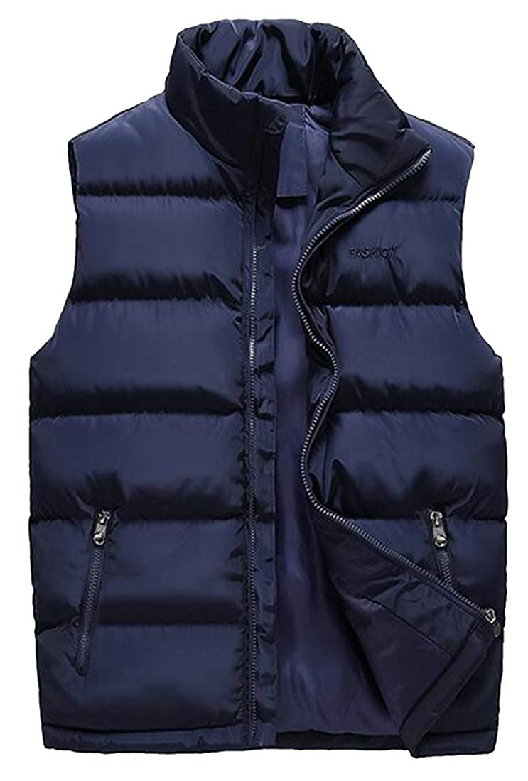 XTX Men Fall Winter Plus Size Zip Up Stand Collar Sleeveless Down Quilted Waistcoat Vest Jacket