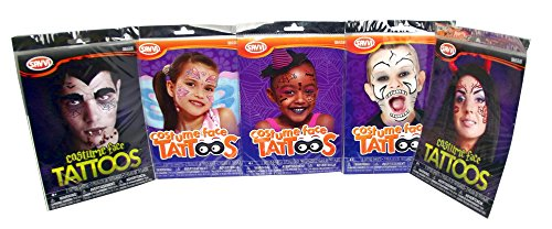 Savvi Halloween Costume Face Temporary Tattoo, Assortment