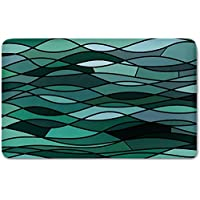 Memory Foam Bath Mat,Teal,Abstract Mosaic Waves Ocean Inspired Expressionist Pattern Marine Design Image DecorativePlush Wanderlust Bathroom Decor Mat Rug Carpet with Anti-Slip Backing,Dark Green Aqu