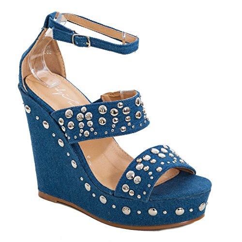 KM005 Femme Toocool Escarpins Toocool KM005 Bleu Femme Escarpins xpqwp6ITf