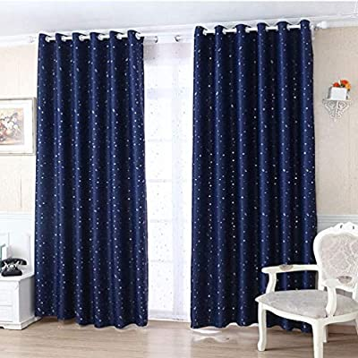 Vosarea Star Bedroom Curtain Naptime Universe Night Sky Window Treatment Curtain for Kids Room Baby Nursery Adults Living Room (Dark Blue): Baby