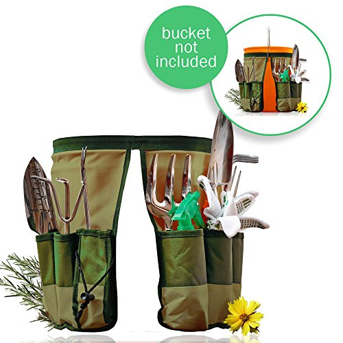 Handy Bucket Caddy Fit 5 Gallon Home Depot Bucket | New Design Military Grade 600D Oxford Cloth Gardening Organizer Caddy with 10 Pockets for 13.7 x 9.8 inches, Machine Safe Series Green by Handy Bucket Caddy