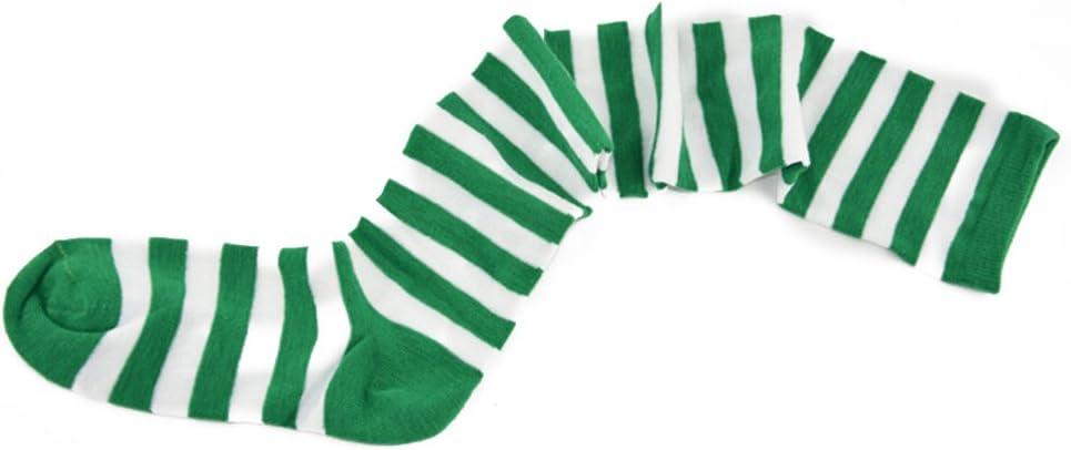 Verde Bianco OULII Calze Parigine Calze a Righe Calze Lunghe Calzini Calze da Donna