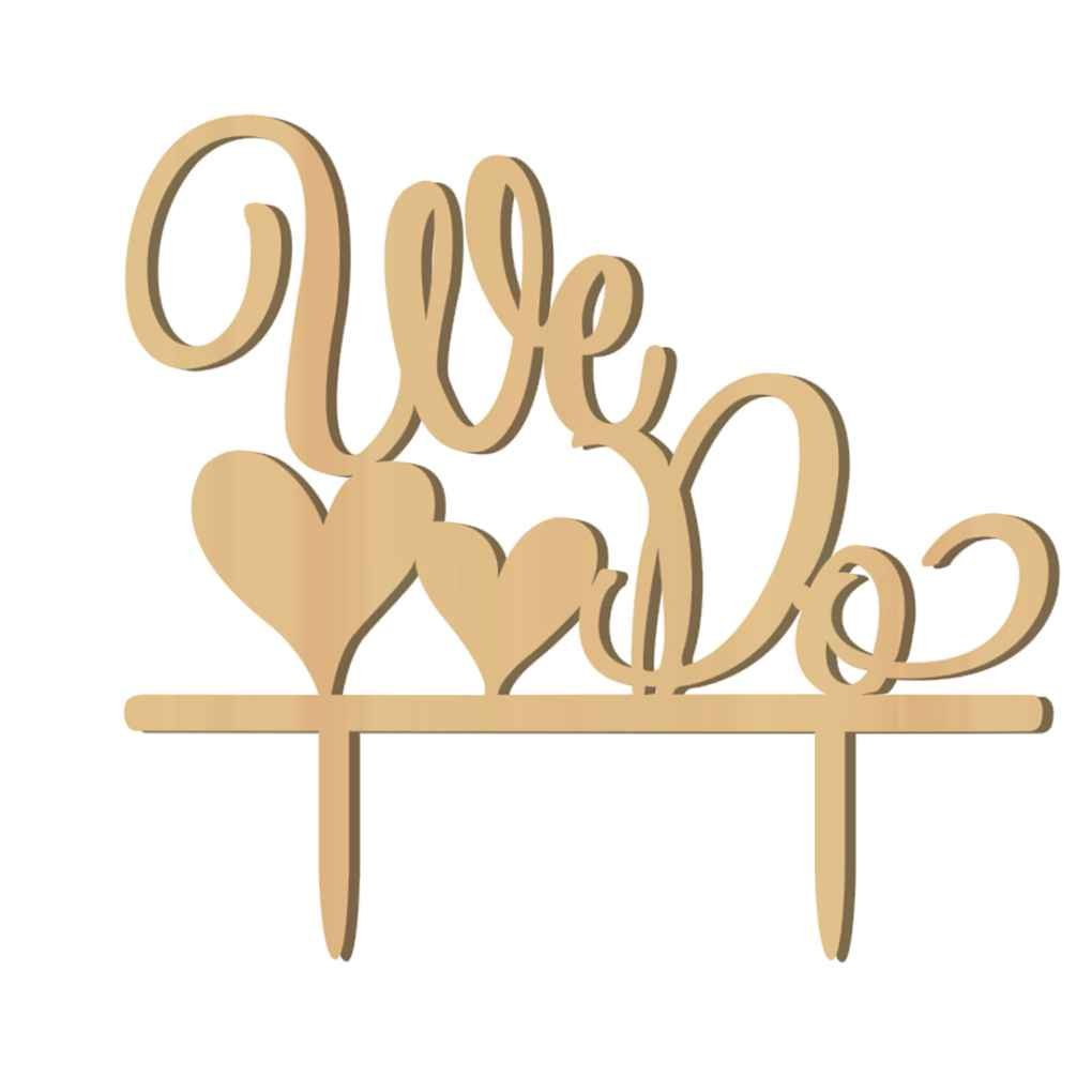 Amazon.com: Flypv Romantic Wooden WE DO Cake Topper Wood Stand ...