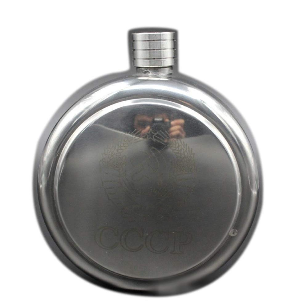 Carriemeow 42oz Hip Flask Carry-on Portable Stainless Steel Round Send Leather Case Metal Kettle White Wine Bottle (Size : One) by Carriemeow