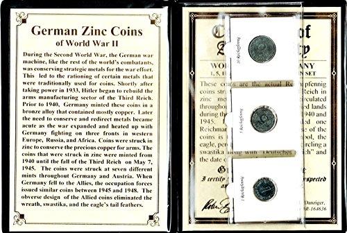 - DE 1939 Three German Zinc Coins of World War II Album,Certificate,Story Very Good