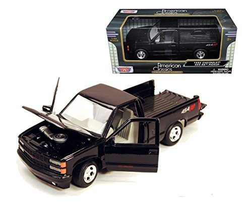 New 1:24 W/B AMERICAN CLASSICS COLLECTION - BLACK 1992 Chevrolet Chevy SS454 Pick Up Truck Diecast Model Car By MOTOR MAX (Chevy Truck Model compare prices)