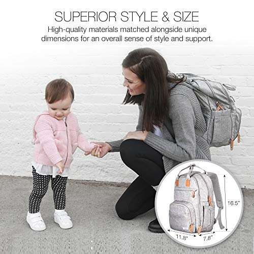 51FuYaOBArL TETHYS Diaper Bag Backpack [Multifunction Waterproof Travel Back Pack] Maternity Baby Nappy Changing Bag Ideal for Mom and Dad, Large Capacity and Stylish Organizer for Baby Care - Gray    Product Description