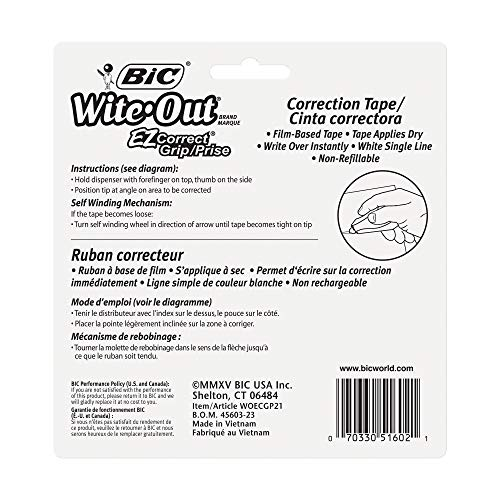 BIC Wite-Out Brand EZ Correct Grip Correction Tape, White, 2-Count by BIC (Image #4)
