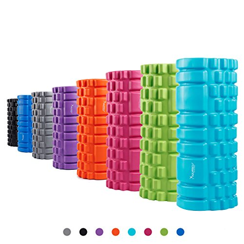 "SYOURSELF Foam Roller for Muscle Massage-13"" x 5.5"", EVA, Trigger Point-Deep Tissue, Myofascial Release, Physical Therapy for Pain Relief, Exercise, Yoga, Pilates+Instructions, Carry Bag(A Blue)"