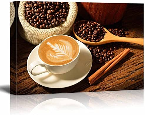 Canvas Prints Wall Art A Cup Of Cafe Latte And Coffee Beans Modern Wall Decor Home Art Stretched Gallery Canvas Wraps Giclee Print Ready To Hang 16 X 24 Posters Prints Amazon Com