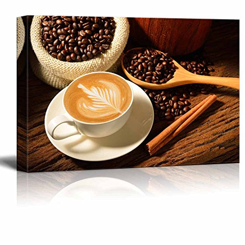 (Canvas Prints Wall Art - a Cup of Cafe Latte and Coffee Beans | Modern Wall Decor/Home Decor Stretched Gallery Canvas Wraps Giclee Print & Ready to Hang - 16