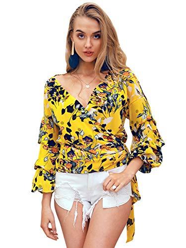 Glamaker Women's Off Shoulder V Neck Long Sleeve Floral Print Wrap Top Blouse Shirt with Belt Yellow ()