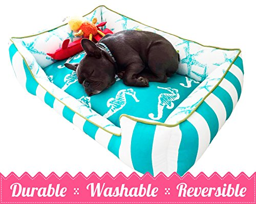 Teal & Chartreuse Pet Bed | Ultimate in Comfort & Design | Bed is Reversible & Washable with a removable cover | Durable | Cat or Dog Bed | Quality Pet Bed | Dog Bed | Cat Bed | Personalized Pet Bed